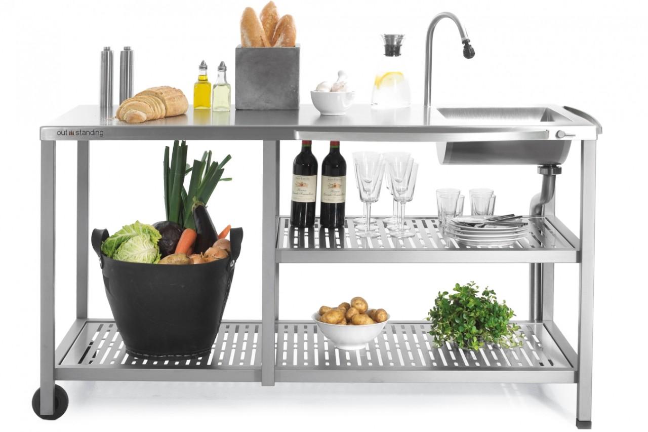 Outstanding utekök Basic Water, exklusivt utomhuskök i rostfritt stål med vattenkran och vask