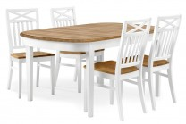 Matgrupp från serien Tofta. Ljuvligt vitt matbord med ekskiva och 4-6 stolar. Längd bord: 160-210 cm.