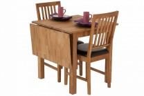 Matbord Karlshamn med 2-4 stolar. Slagbord och stolar i massiv oljad ek, storlek bord 75x75-115cm.