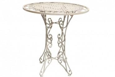 Cafébord Totra Romantik, runt bord i vitt metal. Mått: 73 cm i diameter.
