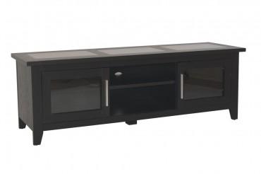 Mediabänk Freja i svart, tv-bänk med tre st skivor i borstad stål. Storlek: 150x50 cm. Helgbutiken.se