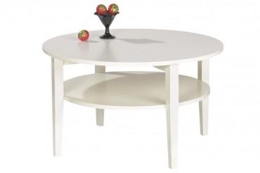 Soffbord Nevada i vitt trä. Runt högkvalitativt vardagsrumsbord. Storlek: 80 cm i diameter.