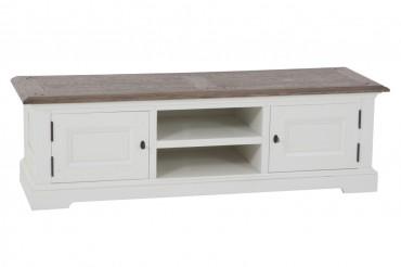 Mediabänk från serien Gute. Stilren vit tv-bänk med ekskiva och bra förvaring. Storlek: 150x46 cm.