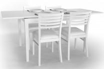 Matgrupp Ronja i vitt med utdragbara iläggsskivor. Köksbord i trä och ekfanér med 4-6 stolar. Storlek: 120-180 cm.