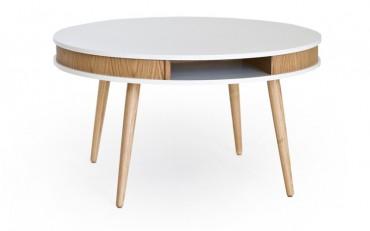 Soffbord Hugo i vitt och massiv ek. Runt soffbord med känsla av 60-tal! Mått: Ø90 cm.