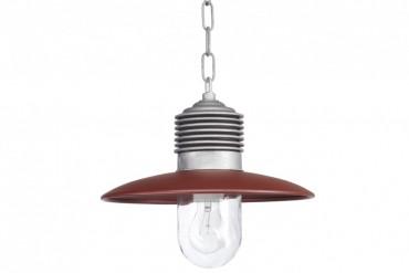 Lampa Ampere aluminium/röd, handtillverkad taklampa i koppar och aluminium. Lampa i industristil! Bredd: 31 cm i diameter.