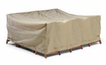 Möbelskydd till bord + 6 stolar i beige polyester. Mått: 225x225x95 cm