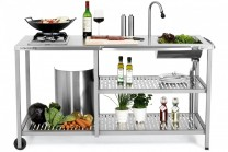 Outstanding utekök Exclusive Gascook, exklusivt utomhuskök i rostfritt stål med gasolplatta samt vattenkran och vask.