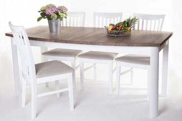 Matgrupp Lammlocken. Vitt matbord med iläggsskiva + 6 stolar. Köksbord med antikbehandlad ekskiva. Storlek bord: 90x180/230 cm.