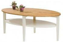 Soffbord Montana i massiv oljad ek och vitt trä. Ovalt högkvalitativt vardagsrumsbord. Storlek: 120x60 cm.