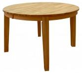Billie runt matbord i massiv oljad ek. Mått Ø110 cm utan iläggsskiva. Plats för två iläggsskivor á 40 cm.