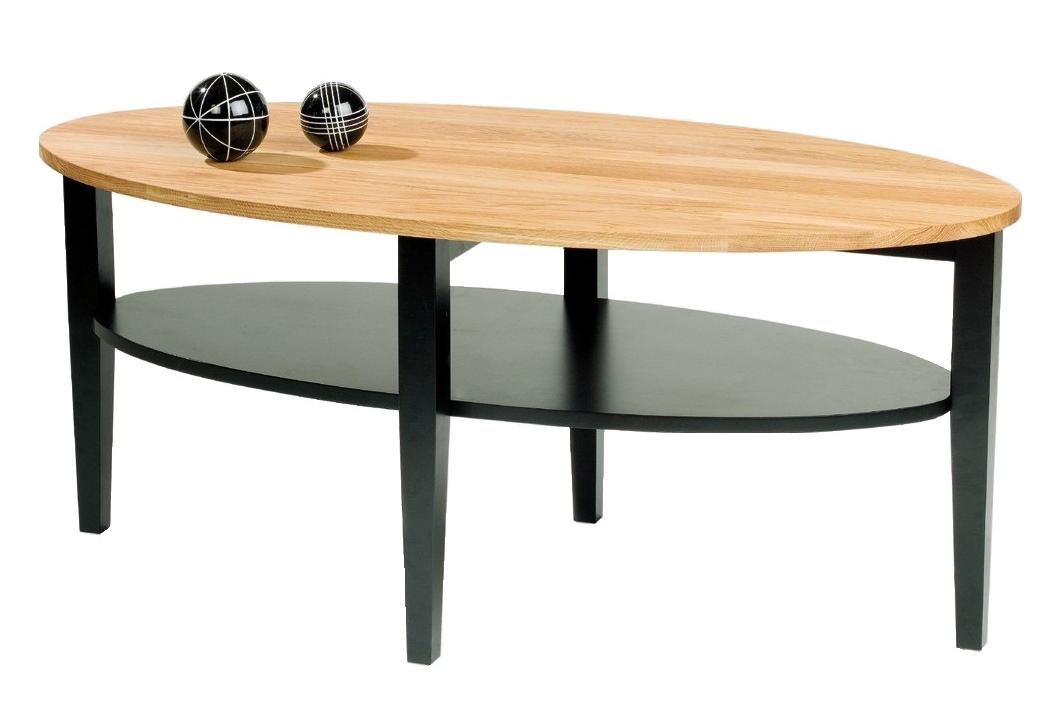 Soffbord Baltimore i massiv oljad ek och svart trä Ovalt högkvalitativt vardagsrumsbord