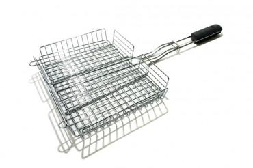 Grillkorg i 304 stål med justerbar höjd. Idealisk för att grilla hamburgare, fisk eller grönsaker!