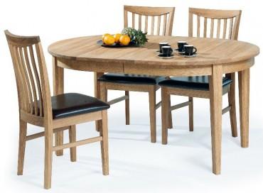 Matgrupp Utah. Bord 150(+50) cm + 4 stolar. Matgrupp i massiv oljad ek. Köp till 2-pack extra stolar!