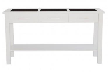 Konsolbord Freja i vit, skänk i vitt med tre st granitskivor. Storlek: 146x78 cm. Helgbutiken.se