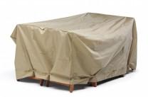 Möbelskydd till bord + 4 stolar i beige polyester. Mått: 160x225x95 cm