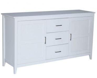 Skänk från serien Vibble. Stilren vit buffé med 2 dörrar och tre lådor. Storlek: 156x44 cm. www.helgbutiken.se