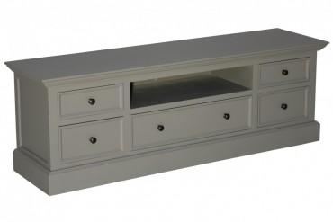 Mediabänk Ljungbyholm. Lantlig grå tv-bänk med trädörrar och glasdörrar, tidlös förvaring i Shabby Chic! Storlek: 170x45 cm, höjd 90 cm.