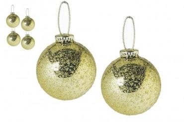 Julgranskulor i guld. Frostade guldfärgade julkulor, 65 mm. 6-pack