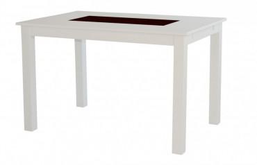 Matbord Bella med klaffar från serien Borlänge. Köksbord i vitt och granit med plats för 4-8 stolar. Storlek: 140-240 cm.