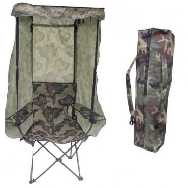 Barnstol hopfällbar med bärväska i camouflage, mått 60x40x92 cm. Fäll upp eller ta ner tak, sida eller rygg efter väder och vind!