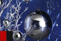 Snowball LED-kulor inne, 30 cm i färgerna röd och svart. Julkulor med rinnande LED-belysning - skapa en känsla av snöfall inomhus! 1-pack.