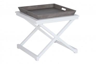 Soffbord från serien Fide. Litet vitt vardagsrumsbord med serveringsbricka som andas New England. Storlek: 60x60 cm.