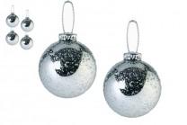 Julgranskulor i silver. Frostade silverfärgade julkulor, 65 mm. 6-pack