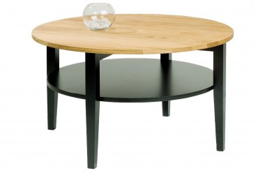 Soffbord Baltimore i massiv oljad ek och svart trä. Runt högkvalitativt vardagsrumsbord. Storlek: 80 cm i diameter.