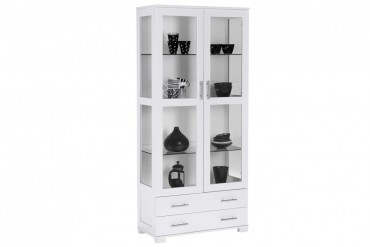 Vitrinskåp Osby. Vitt vitrinskåp i enkel design med glasdörrar och lådor. Storlek: 85x40 cm, höjd 189 cm.