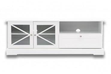 Mediabänk Holmsund, vit tv-bänk i trä med tidlös design. Storlek: 143 cm.