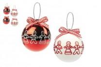 Julgranskulor i vitt och rött. Blanka julkulor med dekorerade pepparkakor, 65 mm. 6-pack