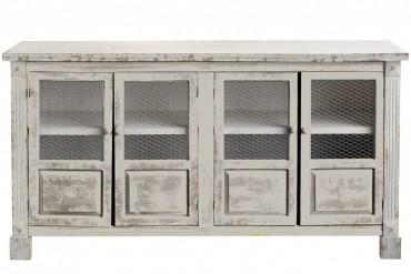Skänk Resö. Buffé i antikvit finish med nätklädda dörrar. Storlek: 150x79 cm.