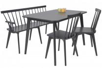 Matgrupp Linköping, svart matbord med pinnsoffa och 2 pinnstolar. Vacker matsalsmöbel med kökssoffa! Mått bord: 120x80 cm, H: 75 cm.