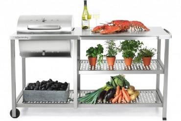 Outstanding utekök Basic Kolgrill, exklusivt utomhuskök i rostfritt stål med kolgrill.