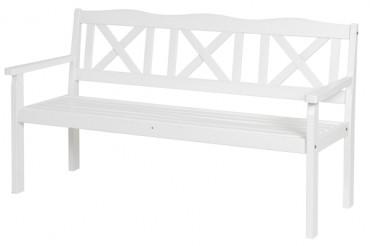 Utesoffa Nora i vitt trä. 3-sitssoffa i klassisk svensk design med kryssrygg. Storlek: 161x64 cm.