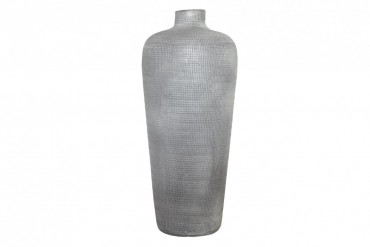 Vas Kville. Stilren grå vas i grov keramik. Höjd 40 cm.