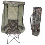 Hopfällbar stol med bärväska i camouflage, mått 90x58x152 cm. Fäll upp eller ta ner tak, sida eller rygg efter väder och vind!
