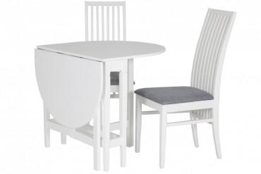 Matbord Limhamn med 2-4 stolar. Vitt slagbord i vacker lantlig stil. Storlek bord: Ø80 cm.