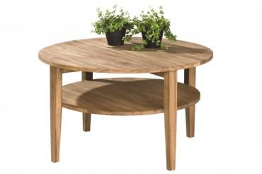 Soffbord Atlanta i massiv oljad ek. Runt högkvalitativt vardagsrumsbord. Storlek: 80 cm i diameter.