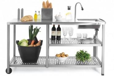 Outstanding utekök Basic Water, exklusivt utomhuskök i rostfritt stål med vattenkran och vask.