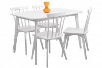 Matgrupp Linköping, vitt matbord med 4 pinnstolar. Vacker vitlackad matsalsmöbel! Mått bord: 120x80 cm, H: 75 cm.