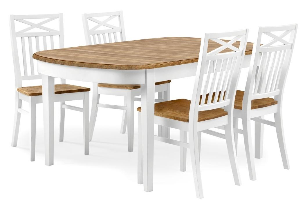 Matgrupp från serien Tofta Ljuvligt vitt matbord med ekskiva inkl iläggsskiva och 4 6 stolar