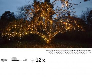 Maxpaket - Komplett paket med LED-belysning som lindas tätt runt grenar och stam på träd.