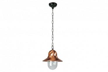 Lampa Toscane, handtillverkad taklampa i koppar med kraftig kedja. Kopparlampa i industristil! Bredd: 28 cm i diameter.
