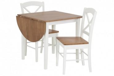 Matbord Heleneholm med 2-4 stolar. Vitt klaffbord med bordskiva i ekfanér. Storlek bord: 75x75-111 cm.