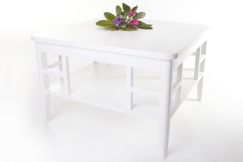 Soffbord Paris i vitlackerat trä Vitt fyrkantigt vardagsrumsbord i shabby chic Storlek 80×80 cm
