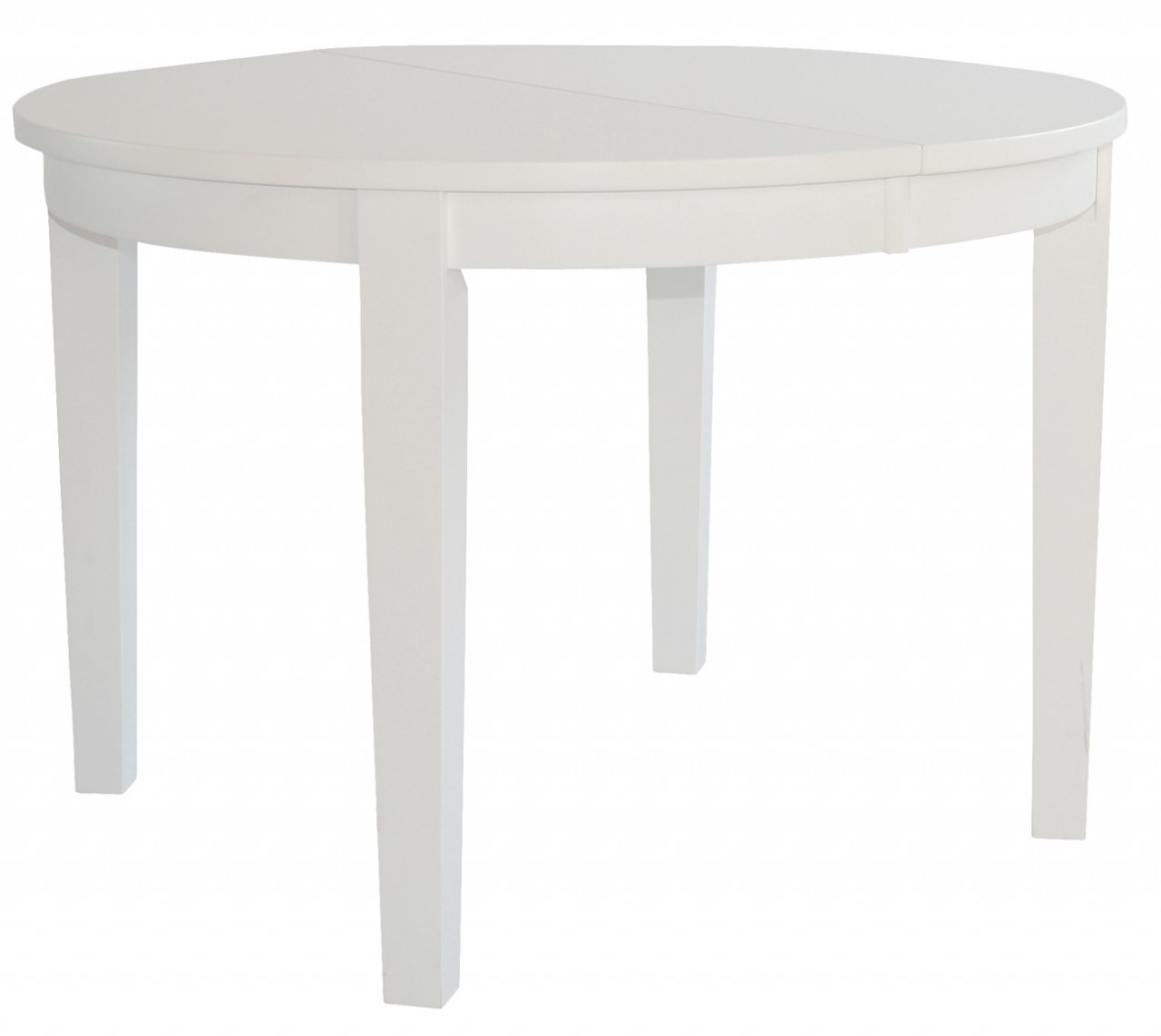 Matbord Möja I Vitlackat Massivt Trä Runt Matbord Med Iläggsskiva Längd 110 190 Cm Plats För