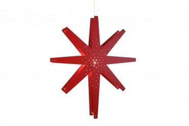Tall adventsstjärna 70 cm, röd. Snygg julstjärna i rött trä!