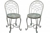Stol Sillvik Antik, stolar av metall i grönemaljerad antikkoppar. 2-pack.